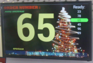 sample of the order number display